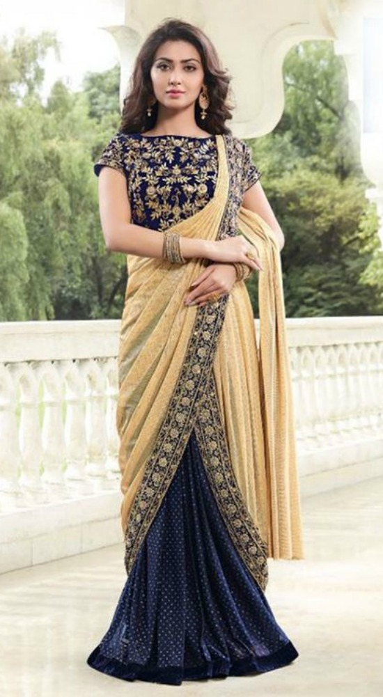 Magnetize Cream and Navy Blue Embroidered Designer Partywear Saree