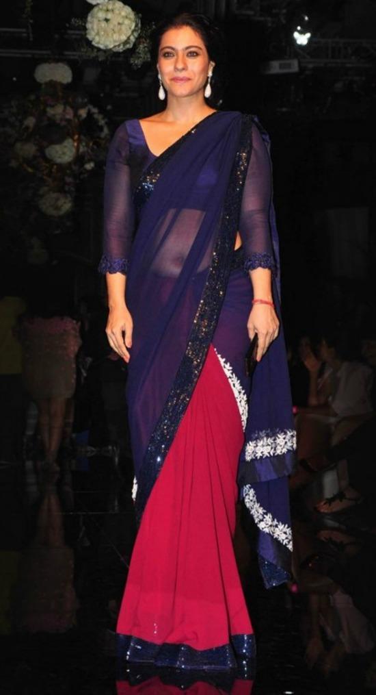 Kajol In Navy and Maroon Color Blocked Sari By Manish Malhotra