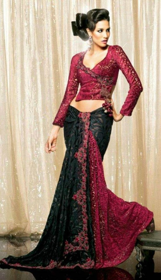 Red Full Sleeve Angrakha Style Blouse with Black Saree