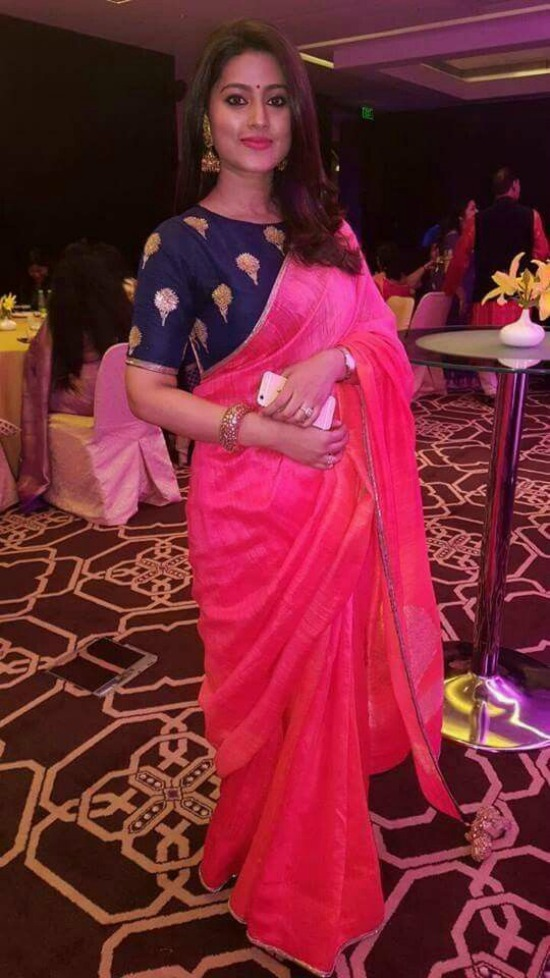 Sneha In Pink Georgette Saree With Simple Embroidery Boat Neck Blouse
