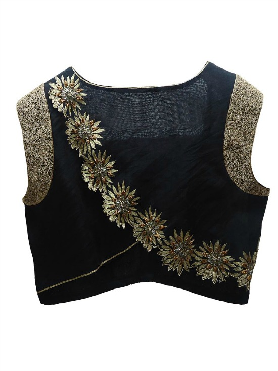 Black and Gold Flower Embroidery Silk Saree Blouse Designs