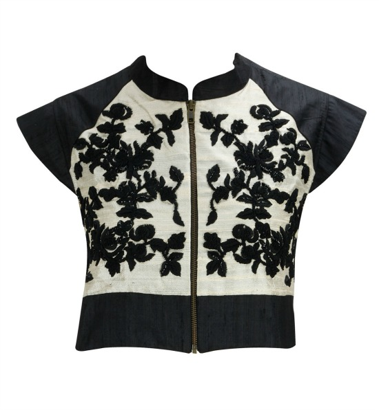 Off White and Black Embroidered Cropped Front Gip Jacket