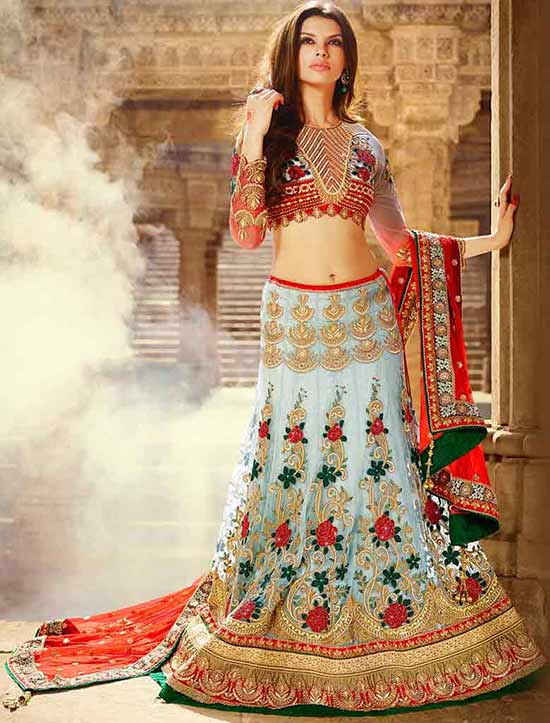 Baby Blue And Red Silk Lehenga