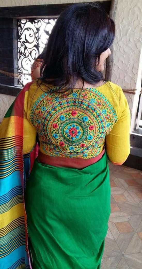 Beautiful-handloom-embroidery-blouse-With-Back-Boat-Neck