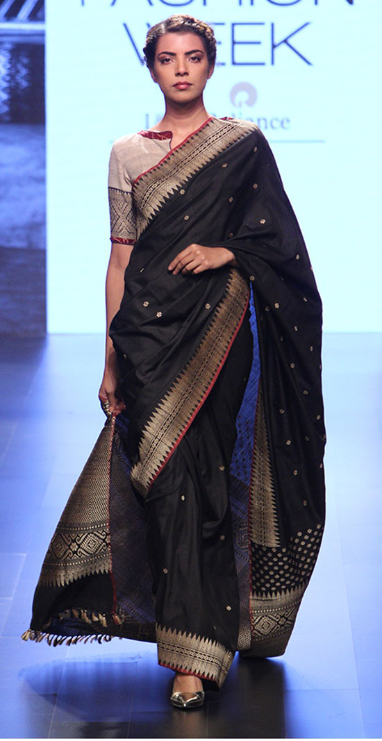 Black And Sliver Saree With Simple Boat Neck Blouse