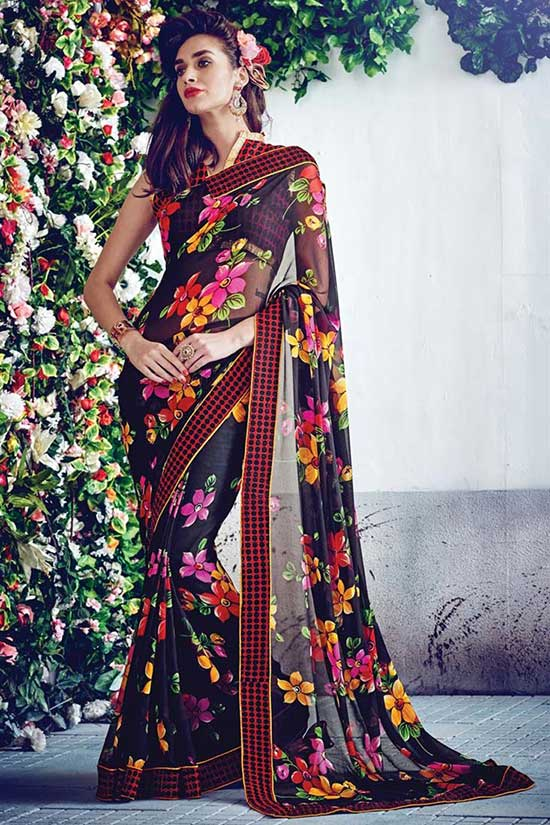 Black Georgette Floral Print Fancy Saree
