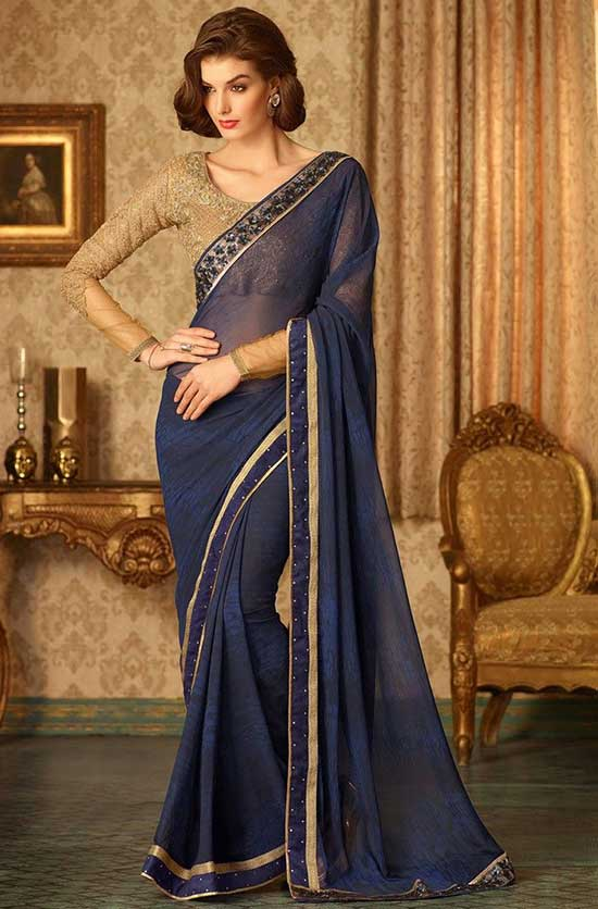 Blue Georgette Fancy Saree embellished with crystals, stones and lace work