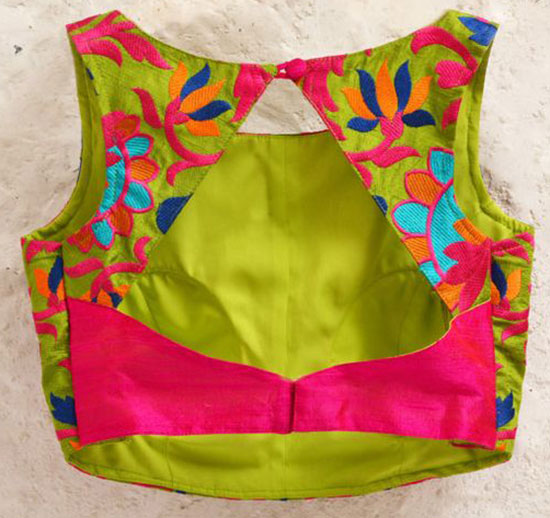 Blue-Padded-Silk-Blouse-with-Bright-Floral-Embroidery