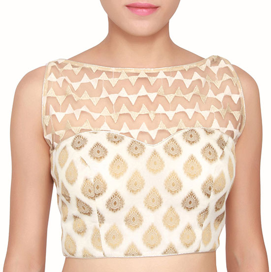 21-Cream-And-Gold-simple-boat-neck-blouse-design-with-net-top