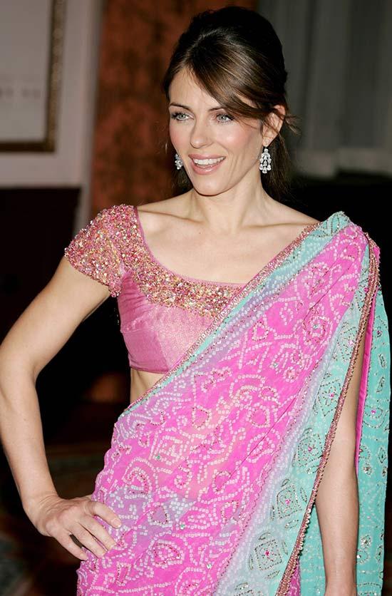 Elizabeth Hurley looks eLegant in this pink saree