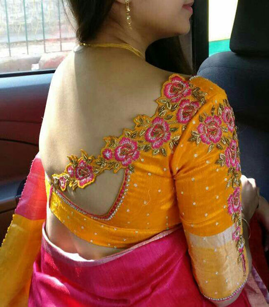 Embroidery-Cut-work-elbow-sleeve-blouse-For-Pattu-Saree
