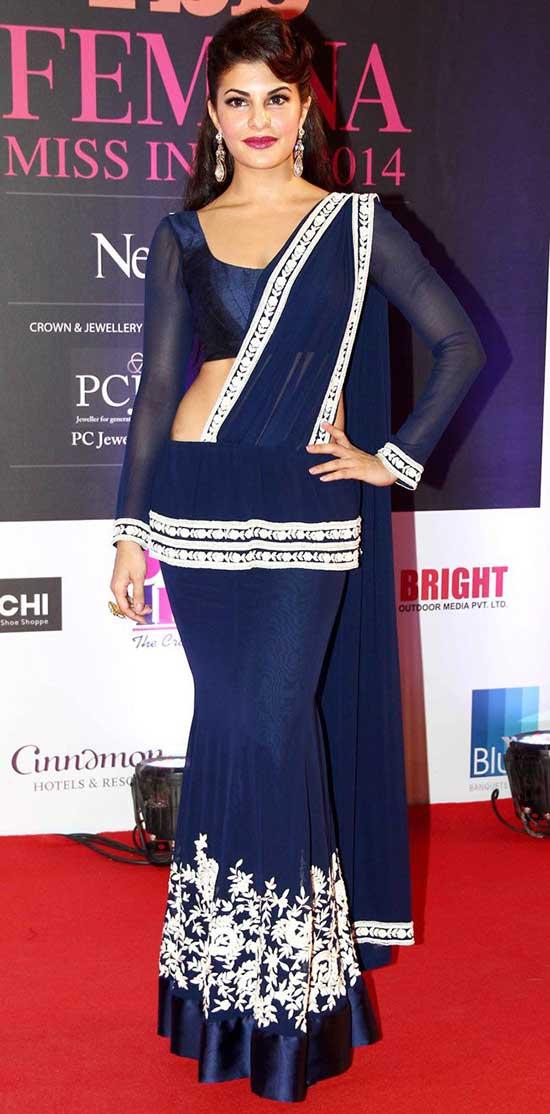 Jacqueline Fernandez In A Blue Saree Gown