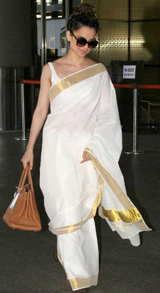 Kangana Ranaut In Cool white kasuvu saree