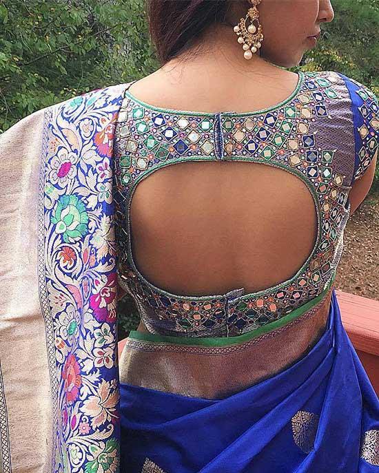 Lovely mirror work blouse back design!