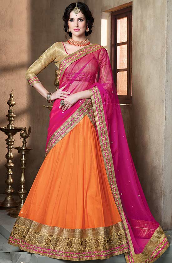 Pink and Orange Colour Georgette Fabric A Line Lehenga Choli