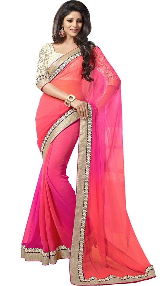 Pink embroidered Multicoloured Georgette saree with blouse
