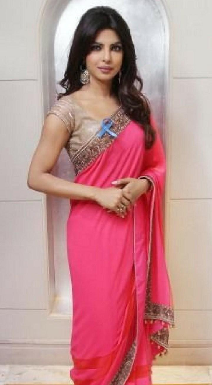 Priyanka Chopra In Hot Pink Border Saree