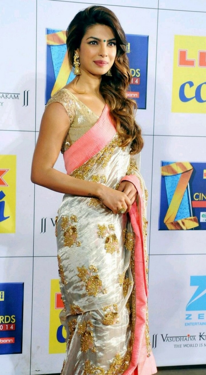 Priyanka Chopra In Silver Saree With Gold Sequins Work And Pink Border