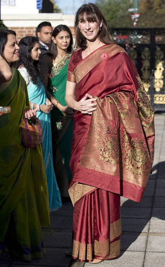 Samantha Cameron Wear an Indian Silk Sarees