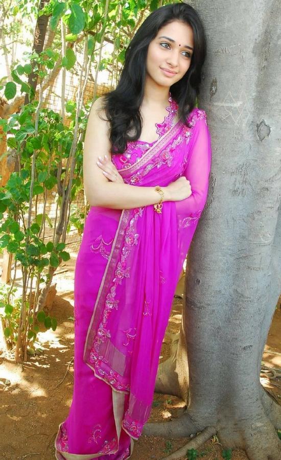 Tamanna Bhatia In Pink Stone Work Saree