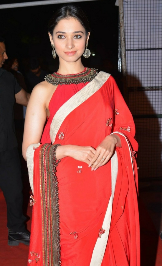 Tamanna Bhatia In Red Saree With White Lace
