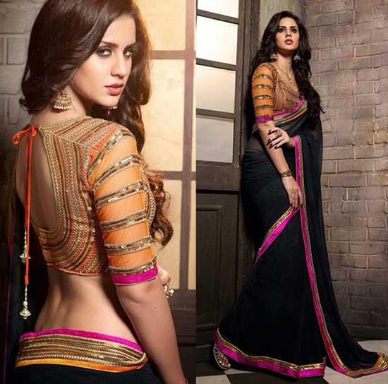 black Saree with pink border