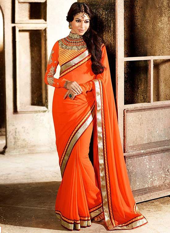 girlish orange georgette saree