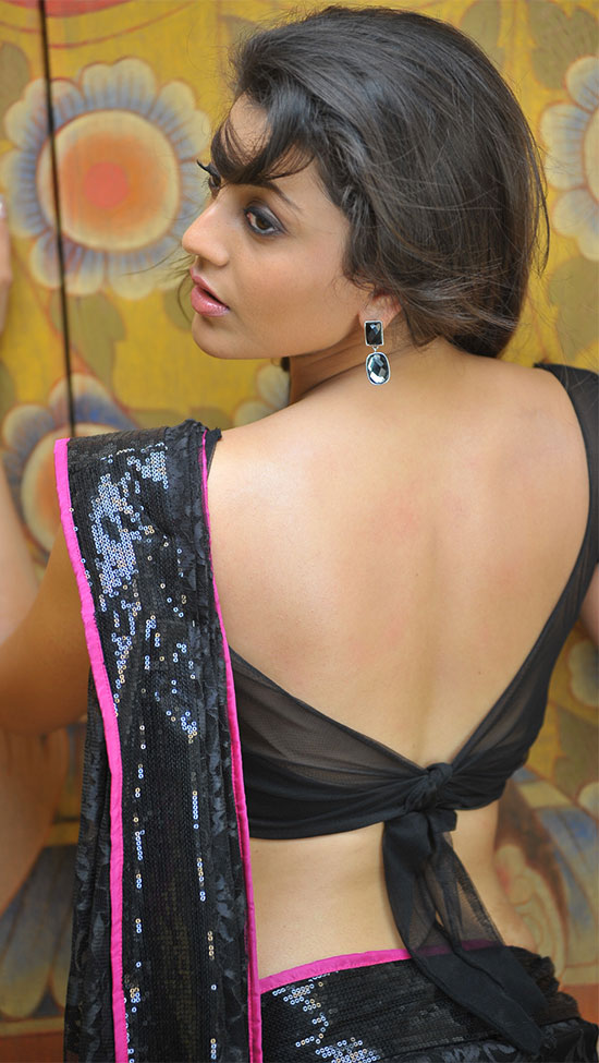 kajal agarwal in Black with red border Saree