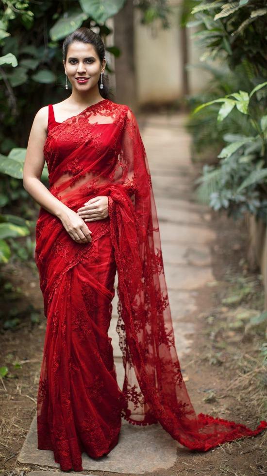 Red Color Florar Designer Copper Net Saree