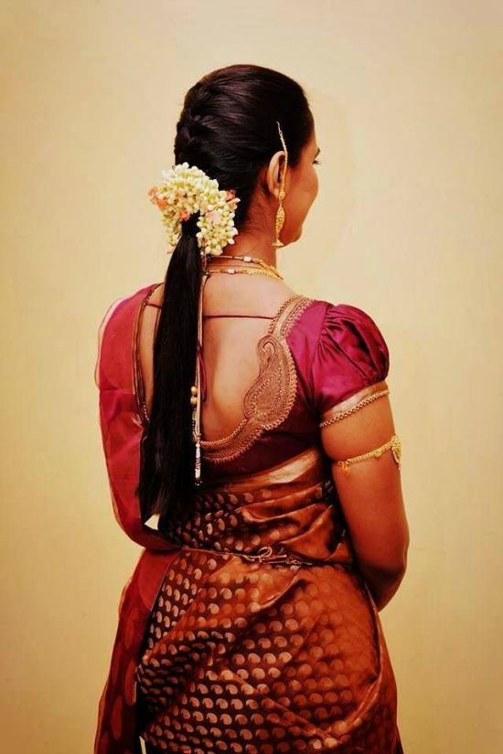 Patch Work Short Puff Sleeve Blouse For Banarasi Saree