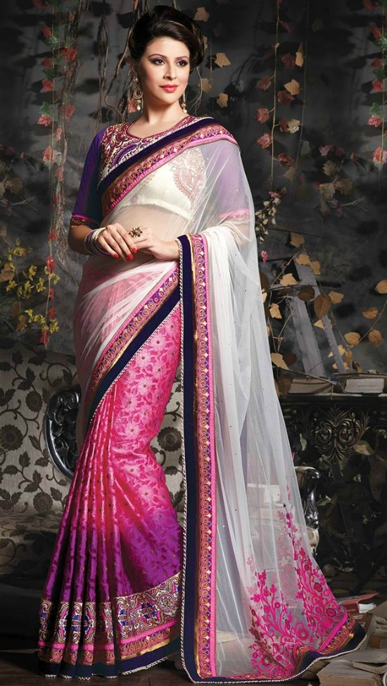 Desire Off White and Pink Net Jacquard Saree