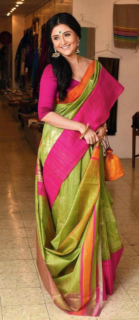 Mix of Vibrant Colors in a Silk Banarasi Saree
