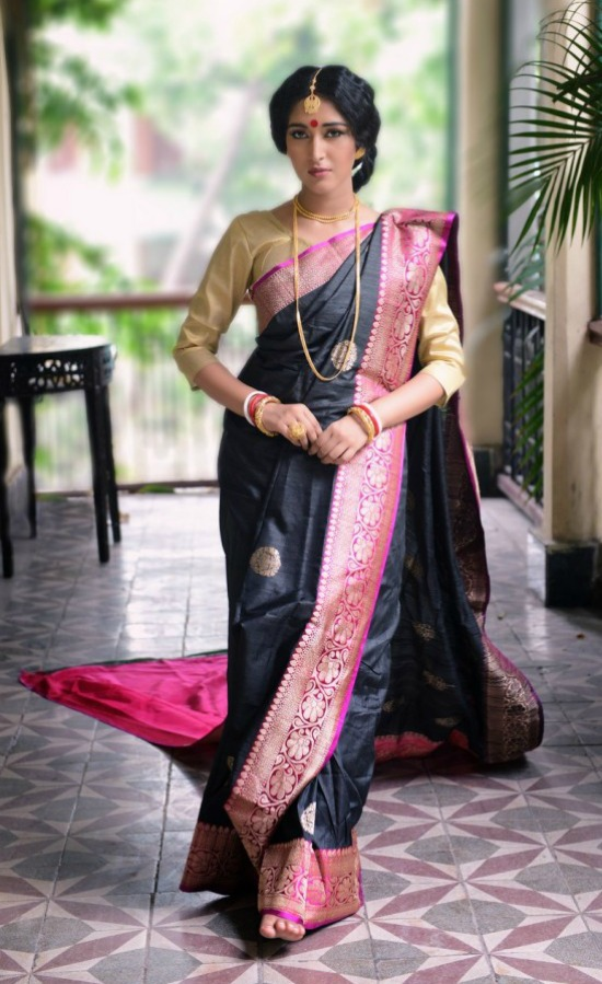 Black Pattu Saree With Pink Border