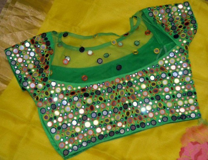 Green Sheer Yoke Mirror Work Blouse