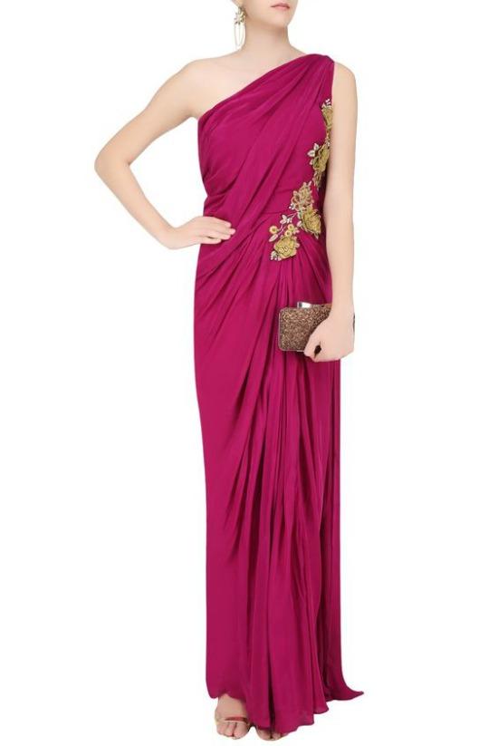 Burgundy 3D Floral Applique Work One Shoulder Saree Gown