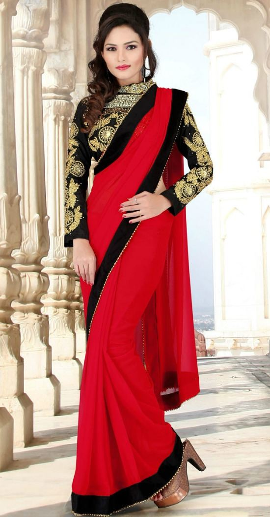 Venetian Red and Gold Velvet and Faux Georgette Resham and Zari Thread Embroidered Border Saree with Bead Work