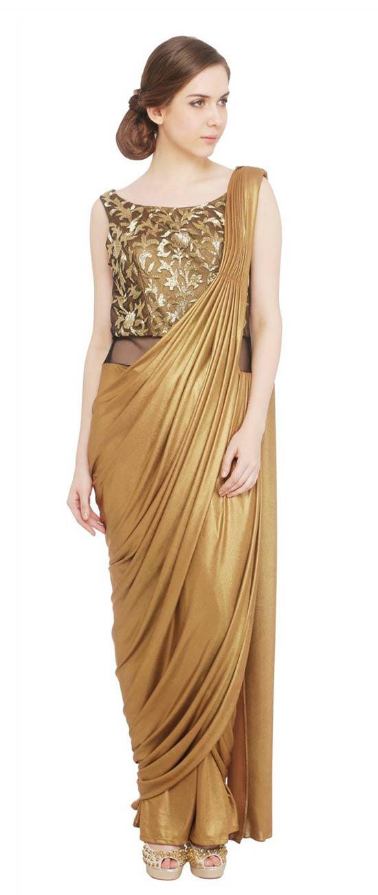 Antique Gold Drape Saree Gown