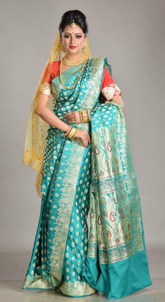 Emerald Green Color All Over Body Mina and Golden Buti Work Benarasi Saree
