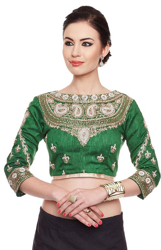 Green Kundan Work Silk Blouse
