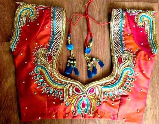 Latest Maggam Work Designs On Pattu Blouses