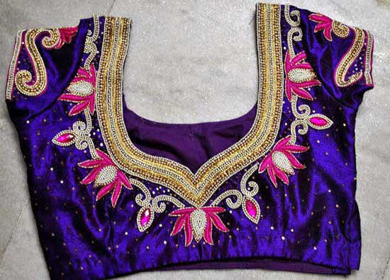 Maggam flower work blouse design