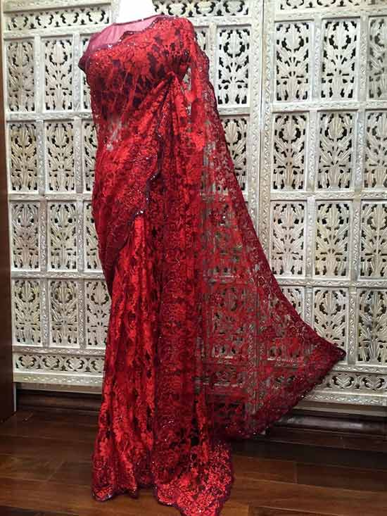 Scarlet red and burgundy dual tone French Chantilly lace saree