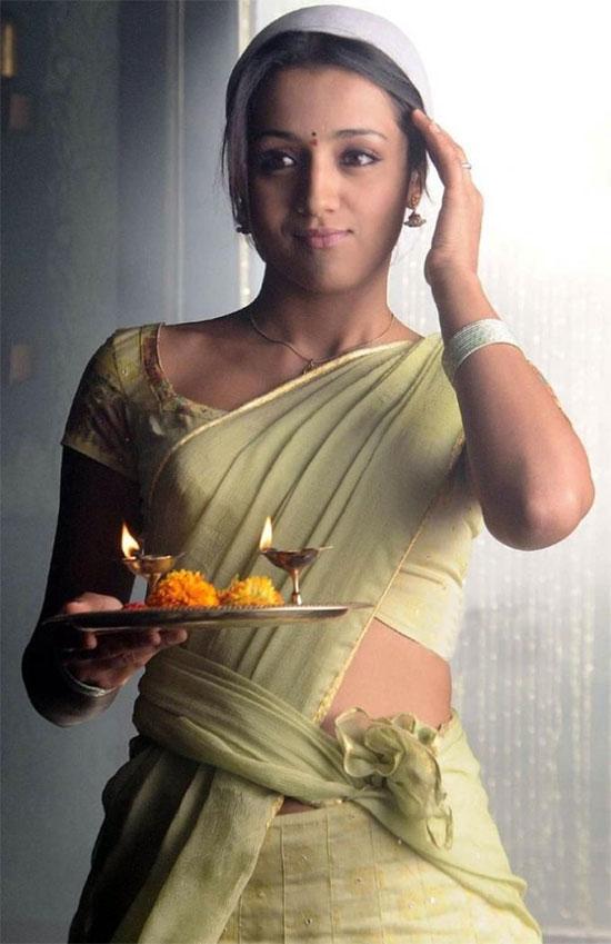 Trisha In Cream Saree