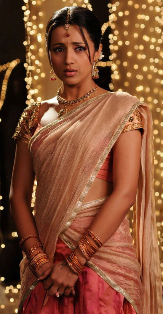 Trisha In Gold And pink Half Saree