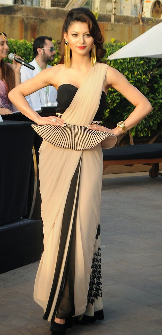 urvashi rautela in a saree with peplum belt