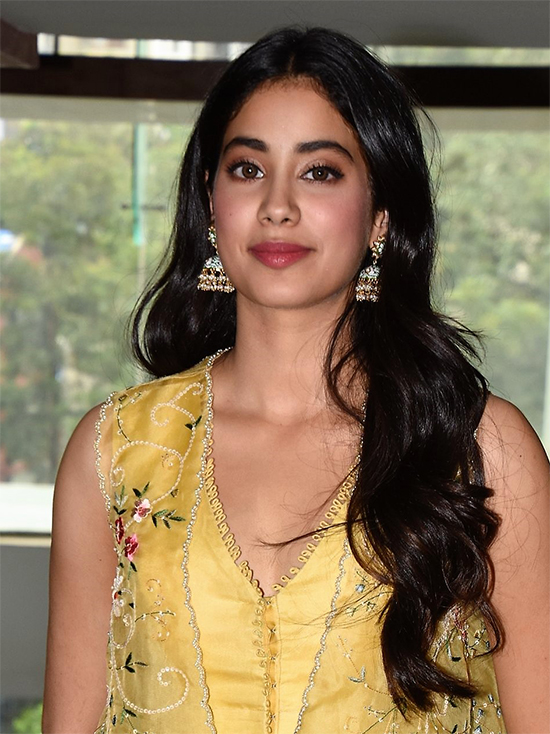 Janhvi Kapoor in Yellow Anarkali Dress