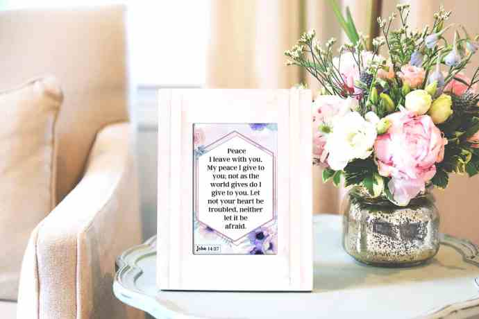 Anxiety Scripture card in a frame