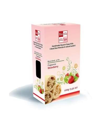 Sapun natural cu glicerina si aroma de capsuni (Cu minerale din Marea Moarta si Lufa naturala)