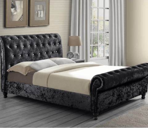 Chatrons Black Fabric Bed Frames