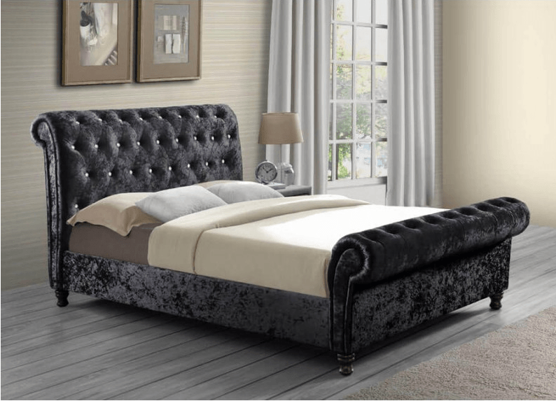 Chatrons Black Fabric Bed Frames, master bedroom
